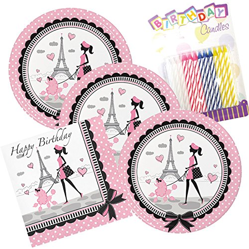 Party in Paris Happy Birthday Theme Plates and Napkins Serves 16 with Birthday -