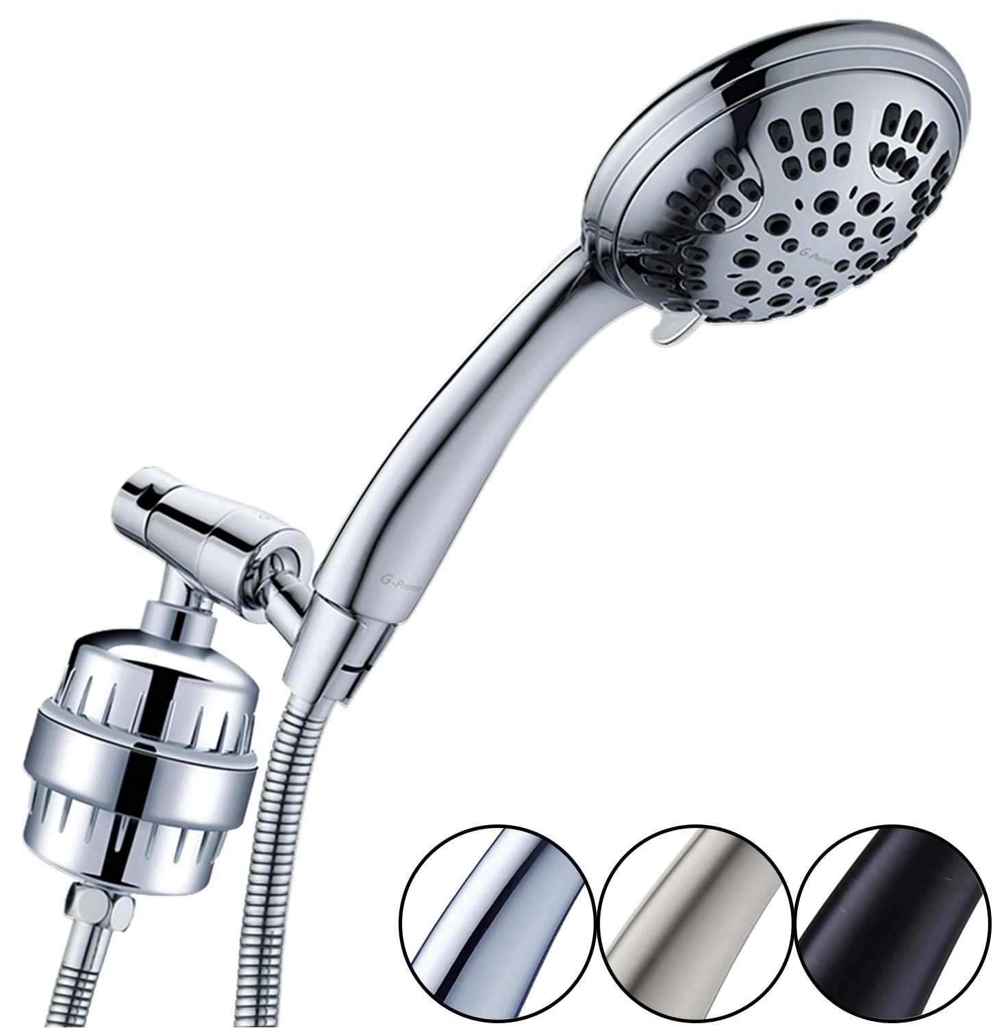 G-Promise Luxury Filtered Handheld Shower Head, Shower Set 6 Spray Showerhead with 10-Stage Filter of 2 Cartridges, Adjustable Metal Bracket, Extra Long Stretchable Hose, Chrome (Chrome with Filter) by G-Promise
