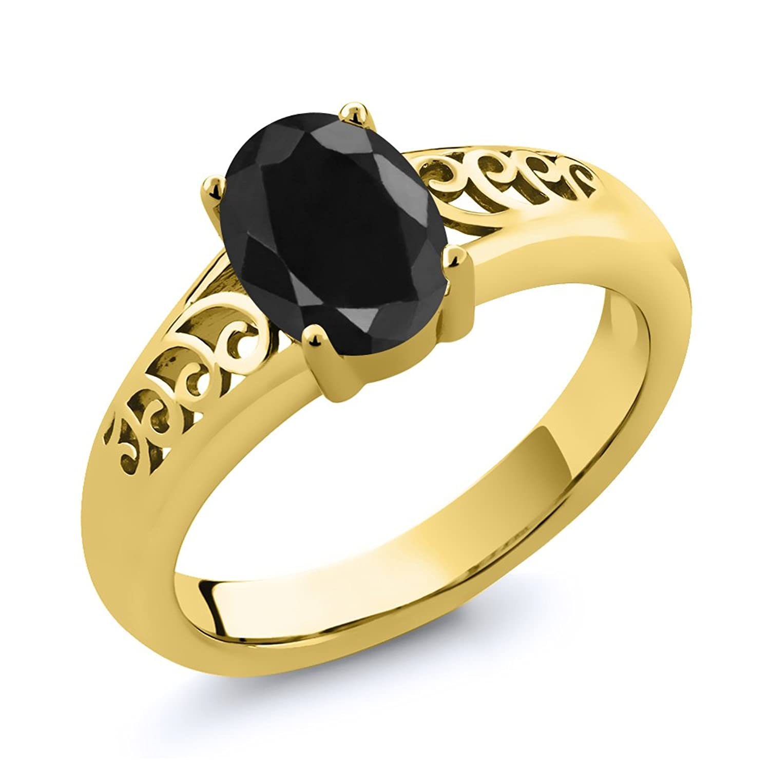 1.07 Ct Oval Black Sapphire 14K Yellow Gold Ring