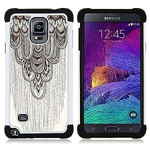 For Samsung Galaxy Note 4 SM-N910 N910 - pencil drawing art beige pattern feather Dual Layer caso de Shell HUELGA Impacto pata de cabra con im????genes gr????ficas Steam - Funny Shop -