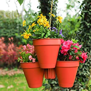 Sungmor Hanging Planters Self Watering Hanging Pots for Plants Indoor Outdoor Vertical Hanging Plant Pots - Unique Stylish 4-in-1 Drainable Plastic Hanging Flower Pots Home Garden Balcony Porch Decor