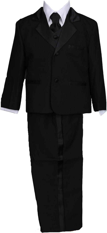 Pink Promise Boy Black 5-Piece Formal Dress Suit Tuxedo Set with Tie