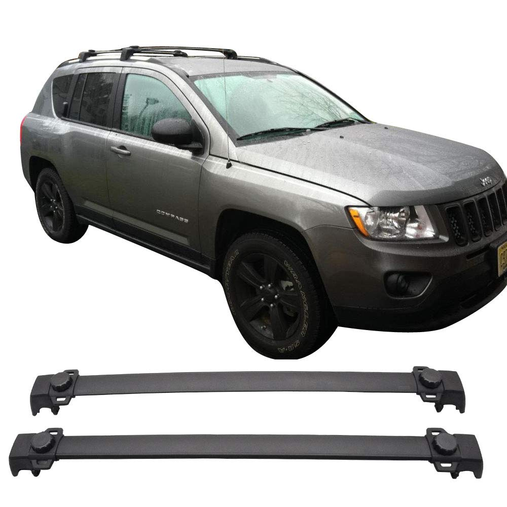 2011-2016 Jeep Compass OE Style Roof Rack Cross Bar Crossbar Black ABS Aluminum