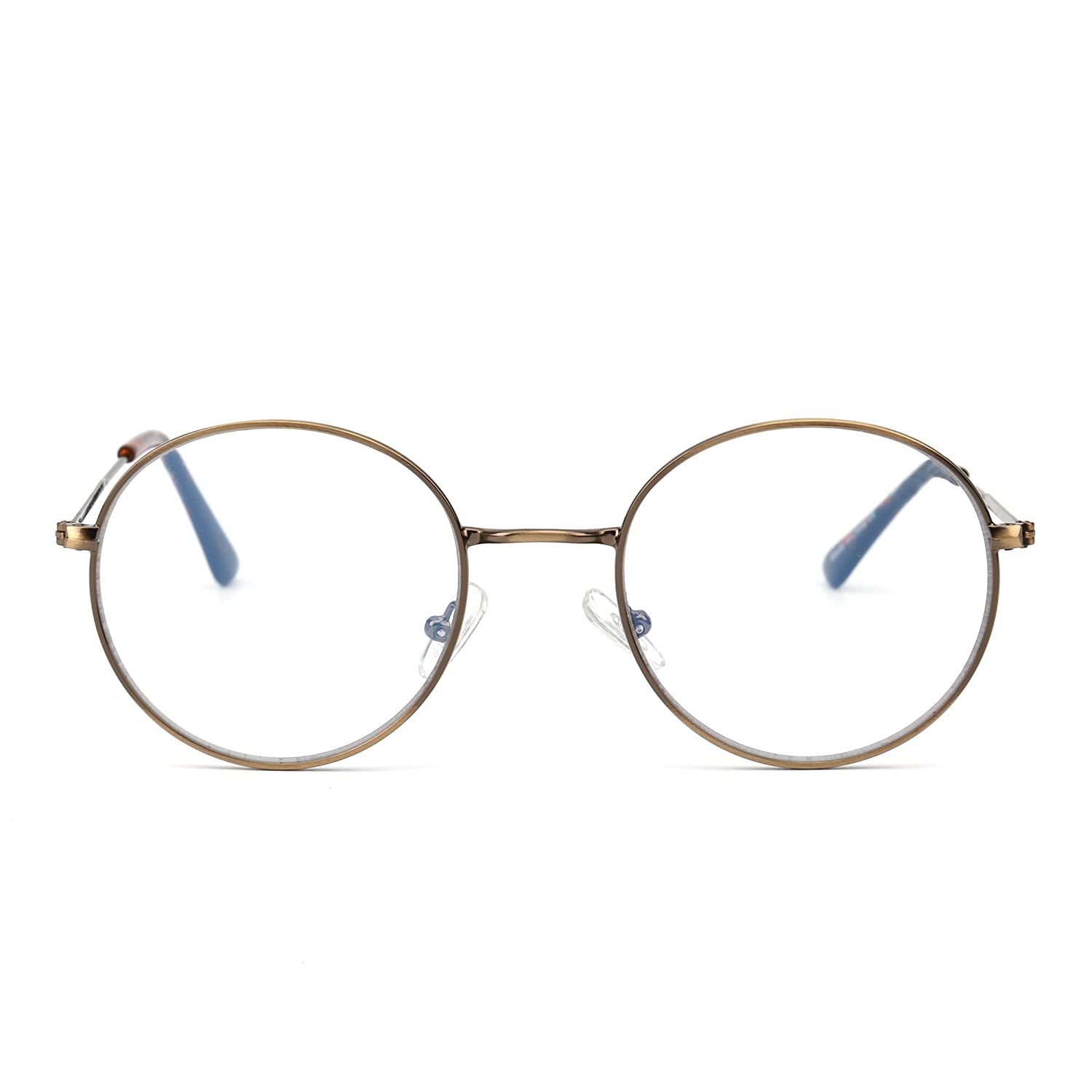 fdfdbc1e95f9 Amazon.com  Retro Round Computer Reading Glasses Metal Circle Frame Gaming  Eyeglasses Anti Blue Light Lens for Digital Screens UV400 Protection ...