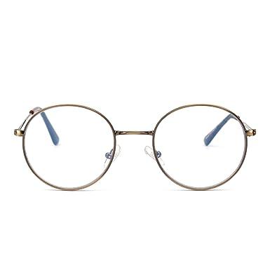 bbf2ba0c78d Anti Blue Light Round Reading Glasses Vintage Metal Circle Frame Computer  Gaming Eyeglasses for Men Women (Gunmetal Clear)  Amazon.co.uk  Clothing