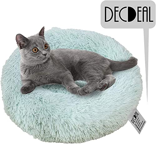 Decdeal Soft Plush Round Pet Bed Donut for Cats or Small Dogs, Dog Cat Bed Self Warming Autumn Winter Indoor Snooze Sleeping Cozy Kitty Teddy Kennel