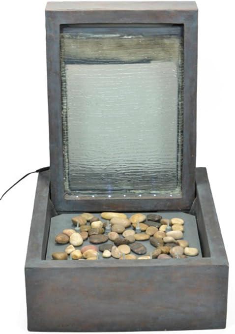 CAPRILO Fuente de Agua Decorativa de Diseño Moderno para Exterior con Luz. Esculturas Resina. Adornos Jardín. 49 x 59 x 71 cm.: Amazon.es: Hogar