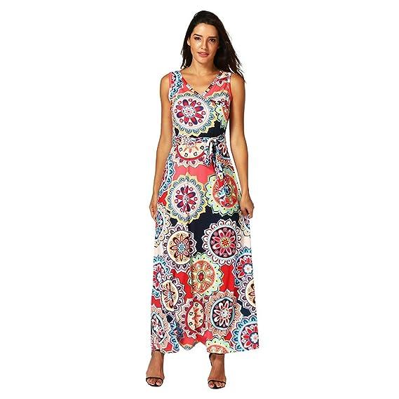 Vestidos Mujer Elegantes Vestidos Mujer Verano Vestido Mujer Vestido Maxi Vestido De Fiesta Largo Maxi Vestido De Verano Estampado Boho para Mujer (XL, ...