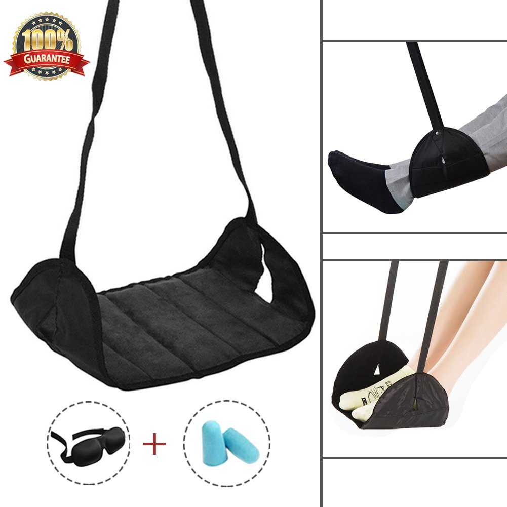 Airplane Footrest Travel Footrest Portable Adjustable Travel Foot Hammock for Airplane Office