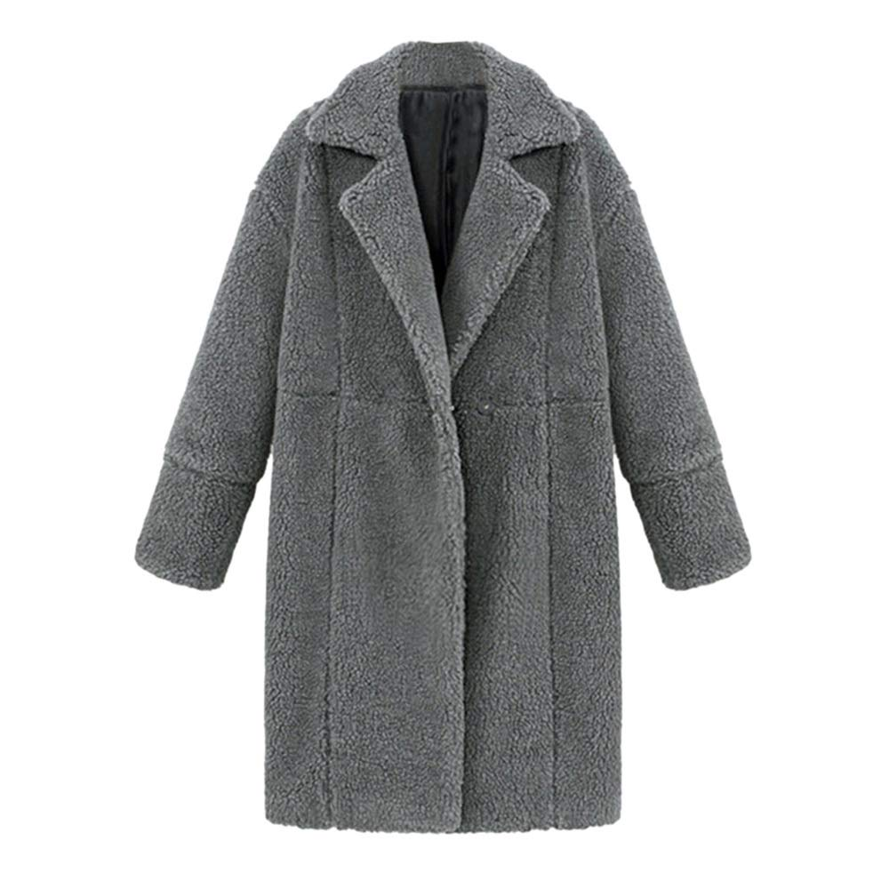 Quelife Women Winter Solid Lapel Long Sleeve Plush Pocket Jacket Long Outwear Cashmere Coat (Gray,XL)