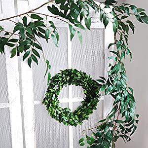 Supla 5.7 Feet Artificial Hanging Willow Leaves Vines Twigs Fake Silk Willow Plant Leaves Garland String in Green for Indoor/Outdoor Wedding Decor Jungle Party Supplies Greenery Crowns Wreath 4