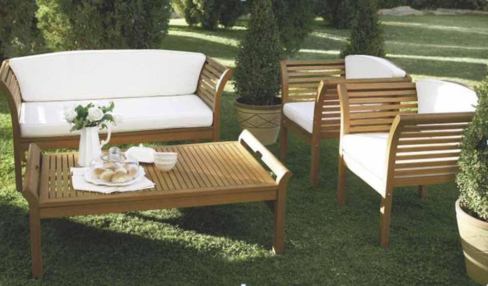 4-tlg. Loungeset inkl. Rücken- und Sitzkissen in creme, aus geöltem Eukalyptusholz mit 2 Sesseln, Bank und Tisch