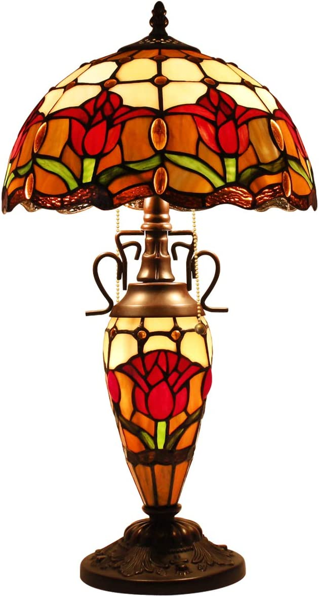 Tiffany Style Reading Table Beside Lamp Light 22 inch Tall Red Tulip Flower Stained Glass Shade 3 Bulb Night Light Base for Girlfriend Living Room Bedroom S030 WERFACTORY