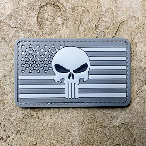 Subdued American Flag and Punisher PVC Rubber Morale Patch - Military and Airsoft Morale Patch Hook Backed By NEO Tactical Gear - In Union Square Sf Stores