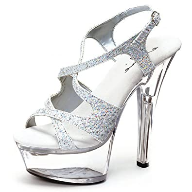 Womens Silver Glitter Sandals 6 Inch Heels Sexy Strappy Shoes Clear  Platform Size  5