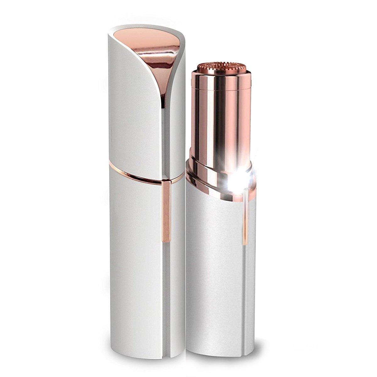 Painless Facial Hair Removal Ladies Lipstick Shaving Device Built in Light Electric Cordless Facial Hair Razor Bikini Trimmer on Upper Lip Chin Cheeks (White) Abrlrdls