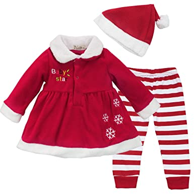 CHICTRY Baby Girls Christmas Dress Candy Striped Leggings Hat Outfit Set Red 9-12 Months