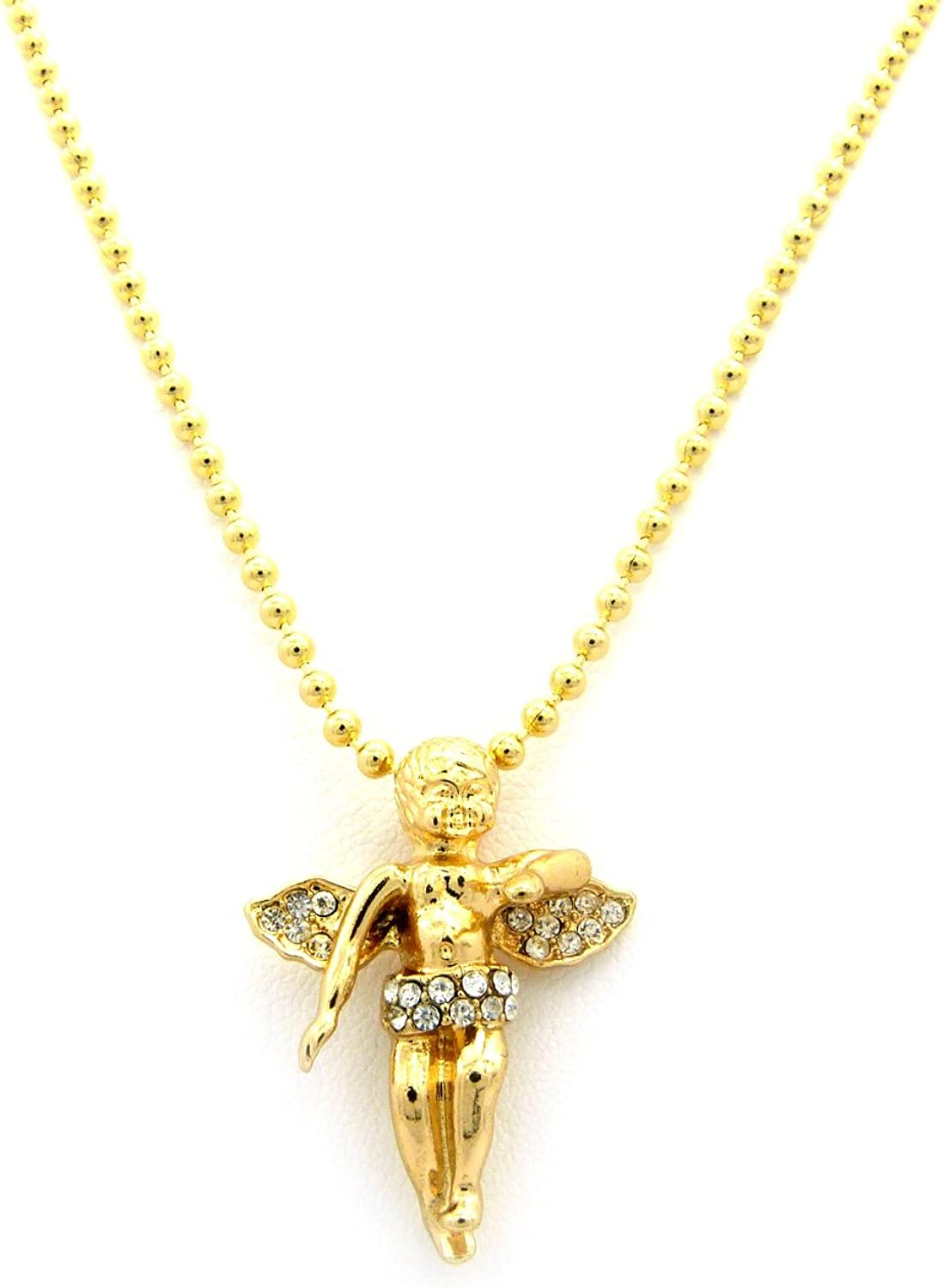Details about  /Round Simulated In 14k Gold Over Cherub Angel Crowned Micro Pave Pendant