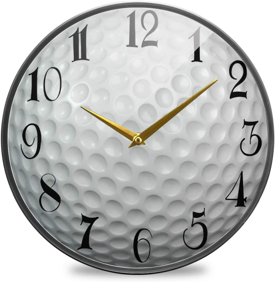 ALAZA Golf Ball Acrylic Painted Silent Non-Ticking Round Wall Clock, 12 Inch Battery Operated Quiet Bathroom Clock for Living Room Kitchen Office Decor