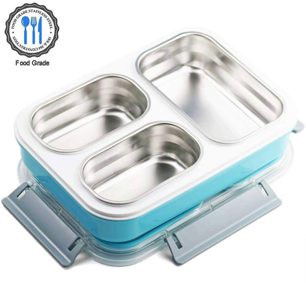 Stainless Steel Bento Box Leakproof Lunch Food Storage Containers For Adults Metal With 3 Compartments (Big Blue)