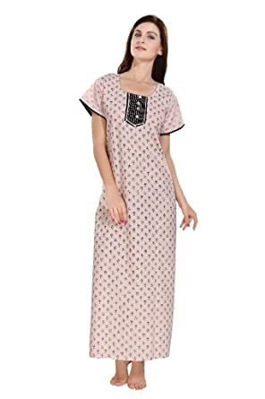 Eazy Women s Soft Cotton Nighty Pink Basic Front Button Printed Black  Contrast Print 4555a293f