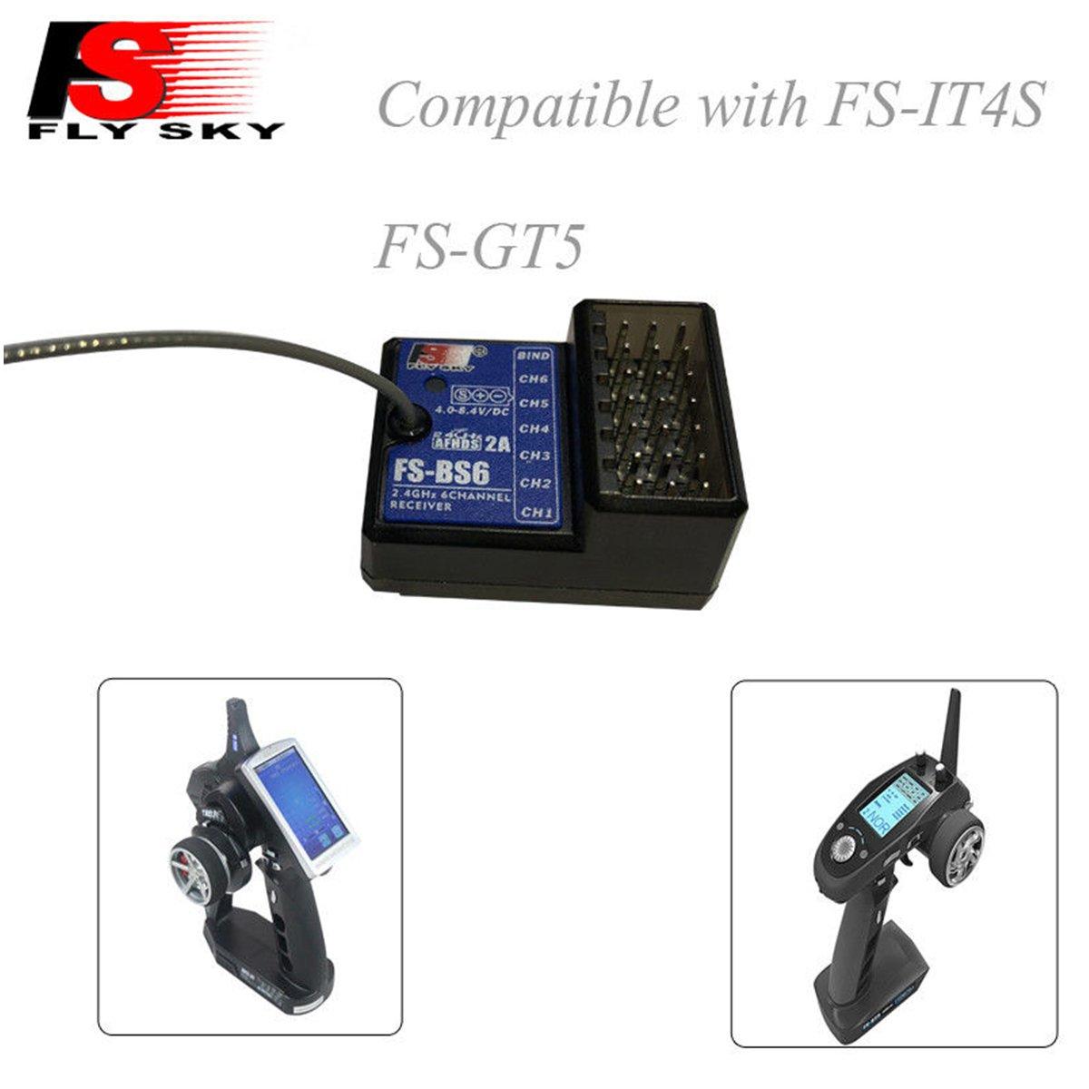Flysky FS-GT5 Trasmettitore RC Radiocomando 6CH 2.4GHz AFHDS RC Transmitter with FS-BS6 ricevente rc Per la Barca RC Car Boa yuntu