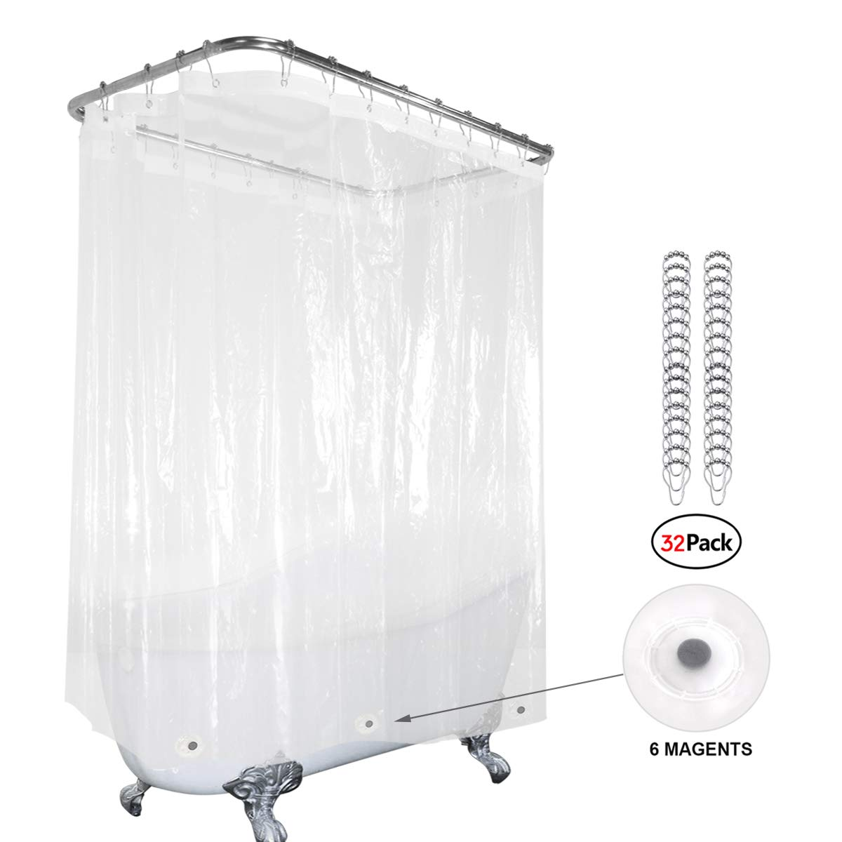 Clear Clawfoot Tub All Around Shower Curtain 180x70 Inch with Magnets Wrap Around Bathroom Shower Panel Set Extra Wide 32 Pack Shower Hooks Included Heavy Duty