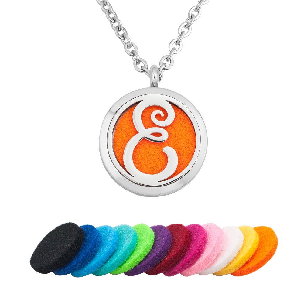 DemiJewelry Aromatherapy Essential Oil Diffuser Necklace Locket Pendant Monogram Letter E