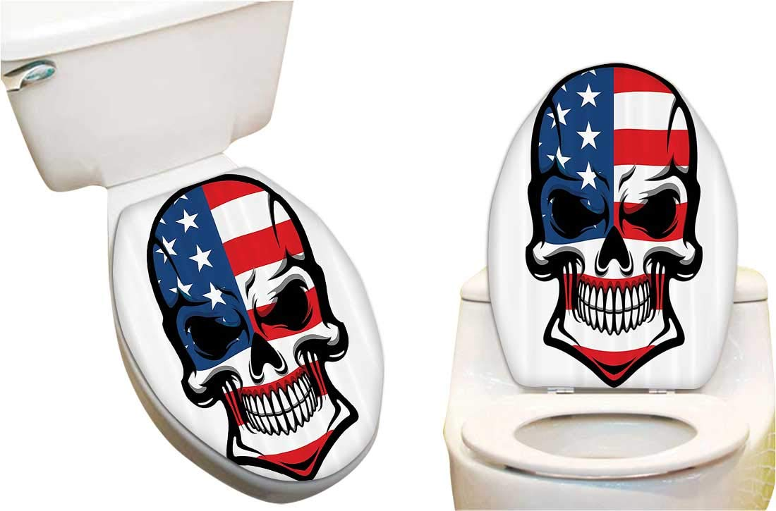 Waterproof Decorative Toilet Cover Stickers Scary Skull with American Flag Dead Native of The Country States Evil Toilet Seat Sticker Decoration 6x7.5