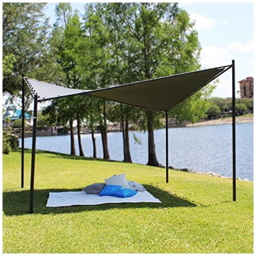 Garden and Outdoor Coolaroo Butterfly Gazebo, Backyard or Patio Gazebo, 99% UV Block, Steel Frame, (13'1″ X 13'1″), Charcoal pergolas