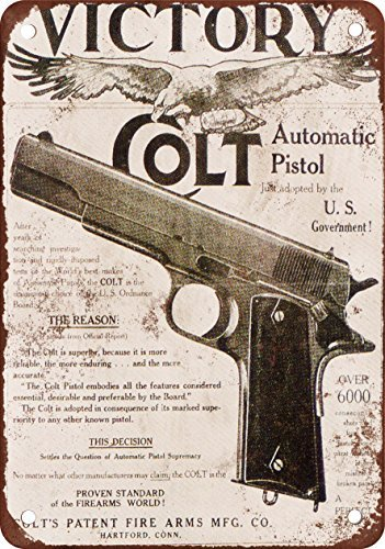 Colt M1911 Victory Vintage Look Reproduction Metal Tin Sign 12X18 Inches