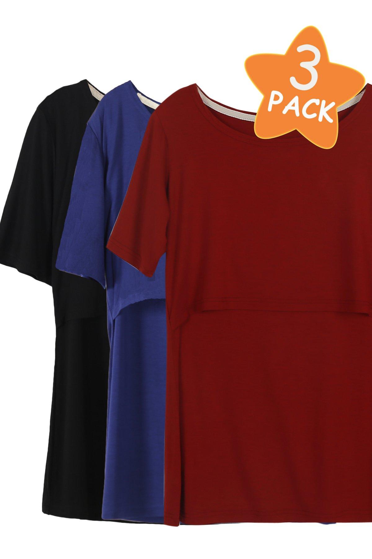 Smallshow 3 Pcs Maternity Nursing T-Shirt Nursing Tops,Navy-Black-Burgundy,Large