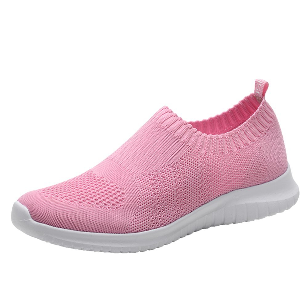 konhill Women's Walking Tennis Shoes - Lightweight Athletic Casual Gym Slip on Sneakers 4.5 US Pink,35