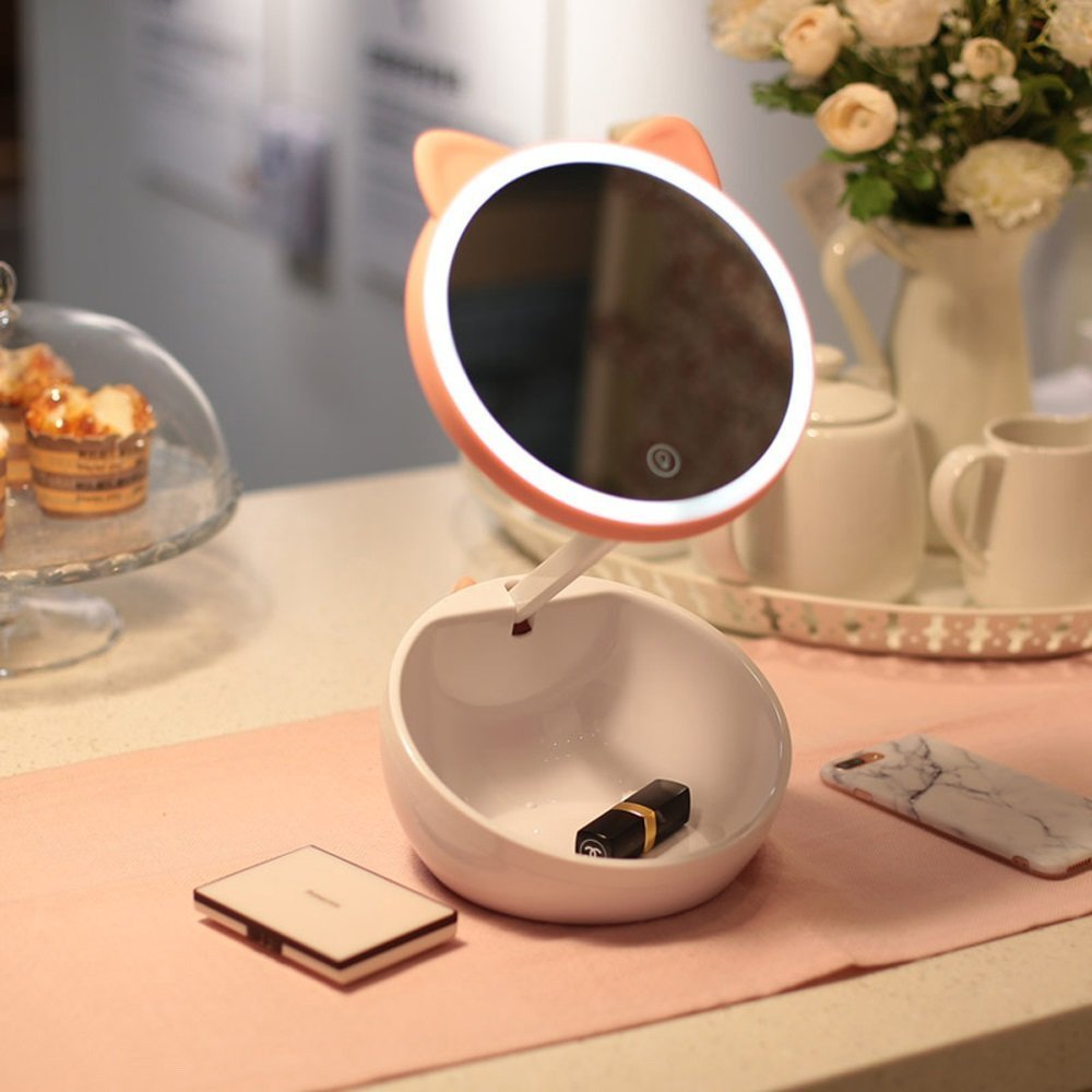 DIDIDD Cute Makeup Mirror Table Lamp, Storage Touch up Multi-Function Touch Screen Lighted Vanity Mirror Little Night Light Pink