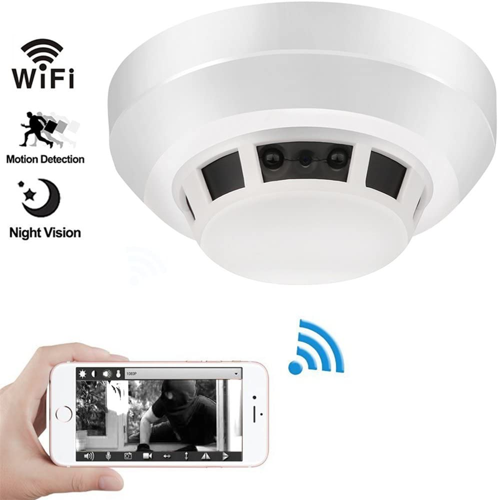 Night Vision Smoke Detector Camera, QUANDU WiFi Hidden Spy Camera DVR Mini Nanny Cam with Motion Detection for Home Security Surveillance Apps for iOS Android PC Mac