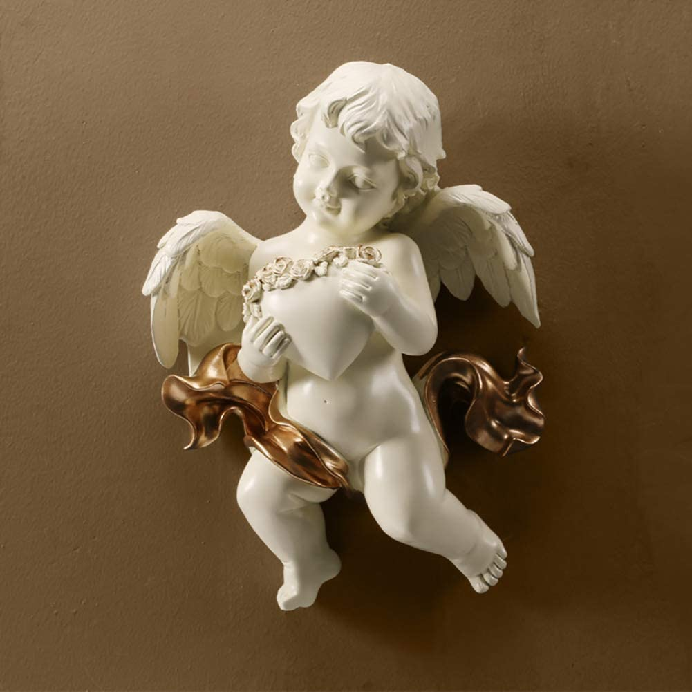 ZXYY Baby Angel Cupid Wall Hanging Sculptures Home Decor 3D Art Ornaments Wedding Collectible Figurines Keep Heart Cherub Garden Statues White