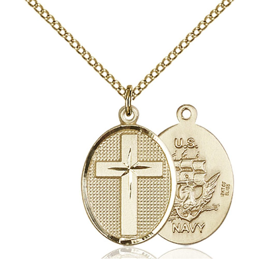 Gold Filled Cross / Navy Pendant 7/8 x 1/2 inches with Gold Filled Lite Curb Chain