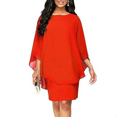 2c7fe32c1f45 Closhion Women's Chiffon Plus Size Overlay Round Neck Cocktail Party Dress  Orange Medium