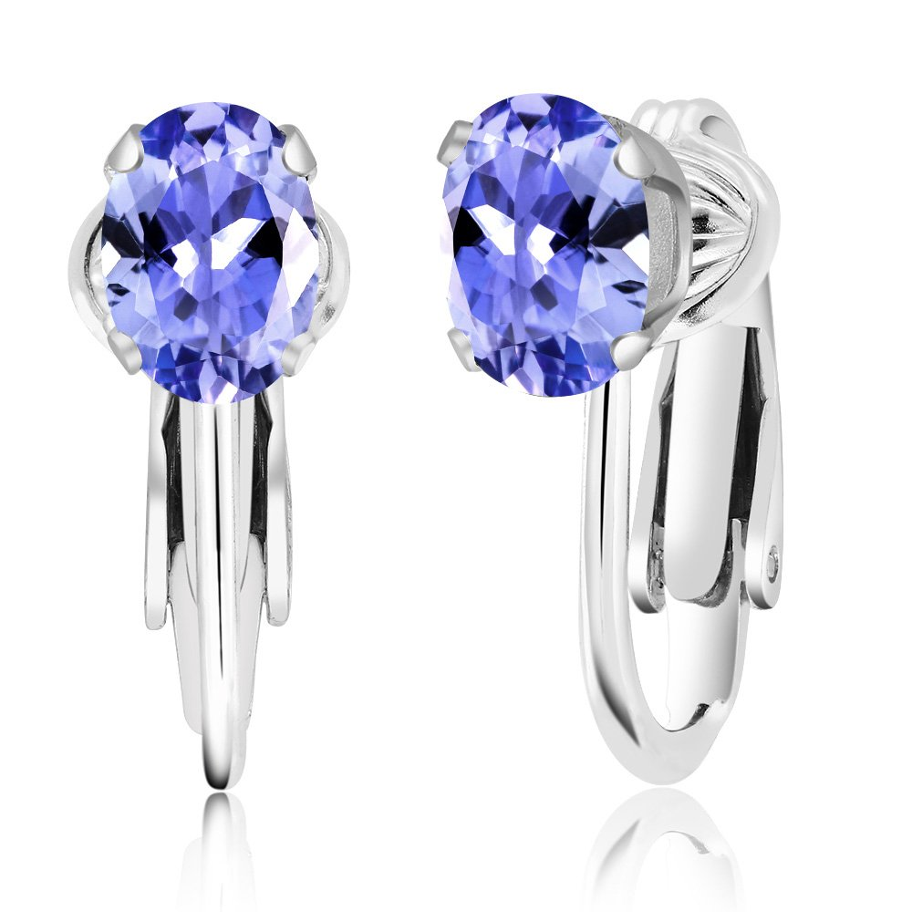 Gem Stone King 1.50 Ct Oval Blue Tanzanite 925 Sterling Silver Clip-On Earrings