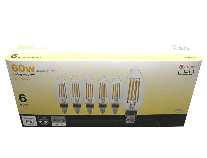 Utilitech 6-Pack LED Candelabra Vintage 60w Equivalent 5W 500 Lumen soft 2700K - - Amazon.com