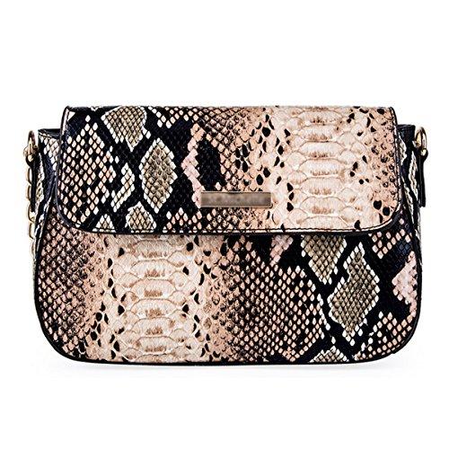 Snakeskin Clutch Lined (Goodbag Boutique Women PU Leather Handbag Sloped Snakeskin Pattern Shoulder Bag Cross-body Satchel Purse (Brown))