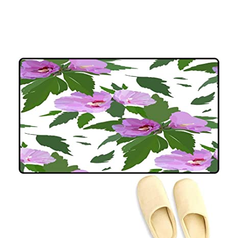 bda701ae1cf81 Amazon.com: doormatFloral Seamless Pattern with Hibiscus Flowers and ...