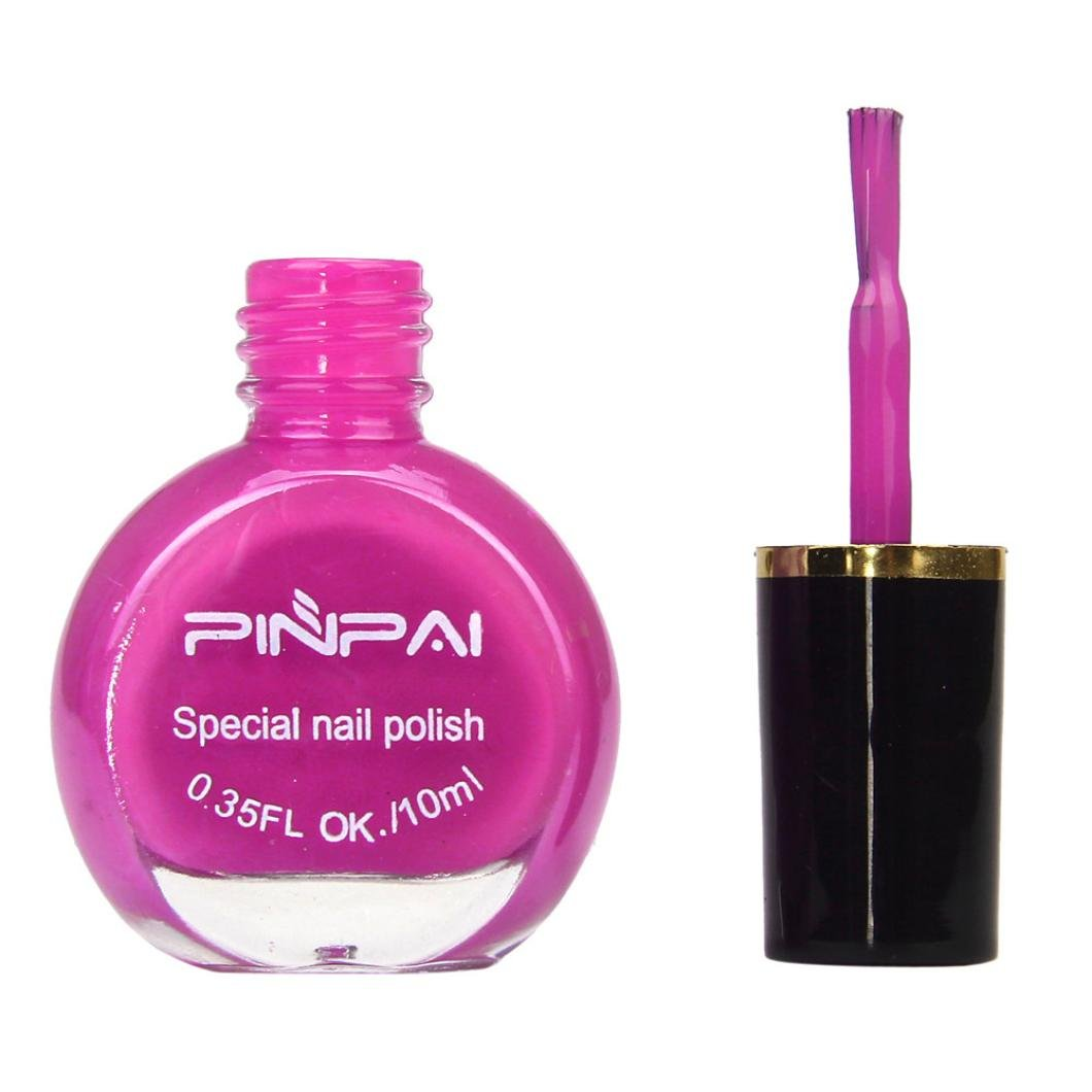 Witspace Nail Art Template Stamp Painting Varnish Polish Manicure Stamping Liquid (Hot Pink)