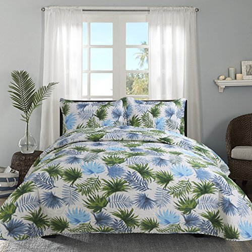 Hilin Fashion Microfiber Reversible Printing Quilt set King size with Shams,as Bedspread,Coverlet or Bed Cover-Soft,Lightweight and Hypoallergenic (LEAVES VERDE, - Leaves Quilt Autumn