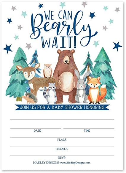 Animal Party DIY Supplies Coed Rustic Gender Reveal Neutral Theme Sprinkle Invite for Boy or Girl 25 Greenery Woodland Baby Shower Invitations Cute Deer Bunny Fill Write in Blank Printable Card