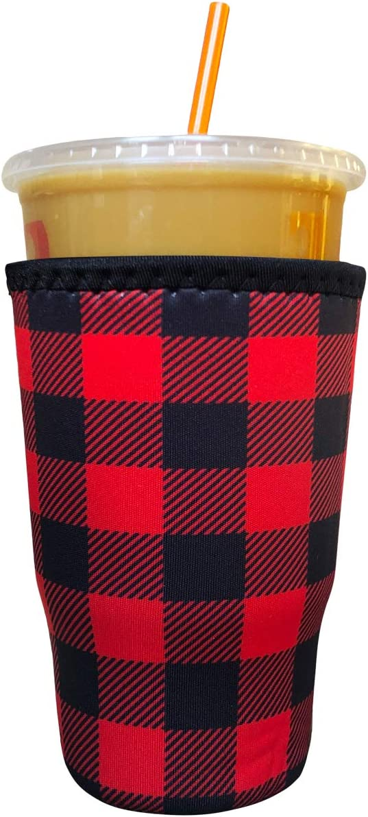 Koverz Neoprene Iced Coffee Java Sleeve - Insulator Sleeve for Cold Beverages, Neoprene Cup Holder - Compatible with Starbucks & McDonald's Coffee - Large Buffalo Plaid