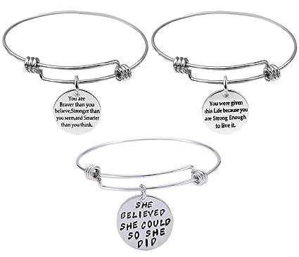 amazon com 3 pack engraved message inspirational words bracelets