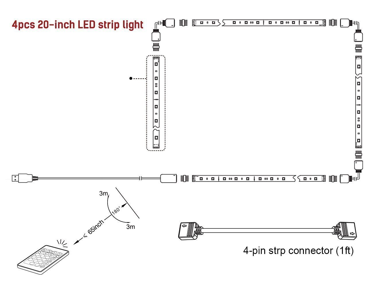 Aveylum Usb Led Light Strip 5050 Rgb Backlight Tape Wiring A 3 Pin Plug Worksheet Lights 4pcs 20 Inch Waterproof Background Lighting With 44 Keys Remote Control For Tv