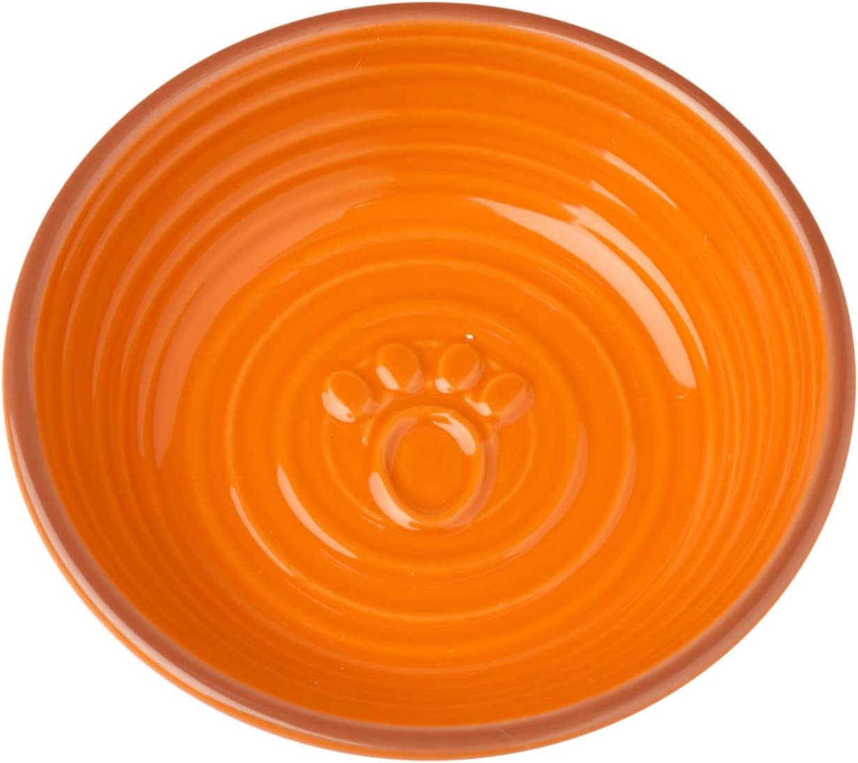 PetRageous 13043 Key West Embossed Paw Stoneware Saucer 5-Inch Diameter and 1.25-Inch Tall Saucer with 6-Ounce Capacity and Dishwasher and Microwave Safe for Small Dogs and Cats, Orange