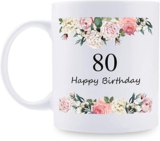 80th Birthday Gifts for Women - 80 Years Old Women Birthday Gifts Coffee Mug for Mom, Wife, Friend, Sister, Her